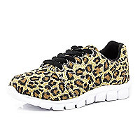 Kids brown leopard print runner trainers