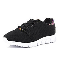 Kids black runner trainers