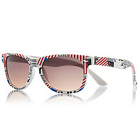 Boys white USA flag print retro sunglasses