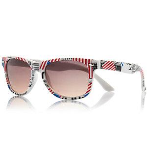 Boys white USA flag print retro sunglasses