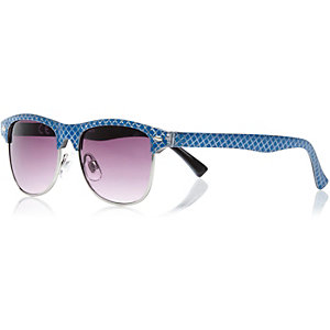 Boys blue geo print retro sunglasses