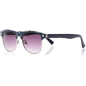 Boys black animal geo print retro sunglasses