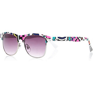 Boys white aztec geo retro sunglasses