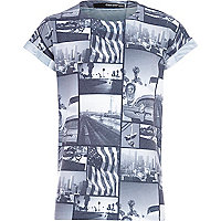 Boys white retro american postcard t-shirt