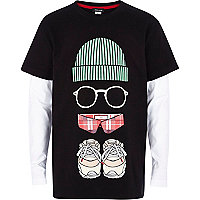 Boys black streetman print 2-in-1 t-shirt