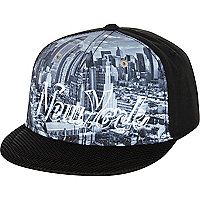 Boys black NY city print snapback hat