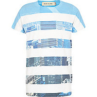 Boys white city stripe print t-shirt