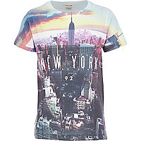 Boys white NYC sky print t-shirt