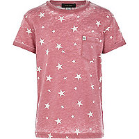 Boys red star print burnout t-shirt