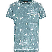 Boys blue star print burnout t-shirt