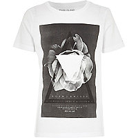 Boys white geo rose print t-shirt