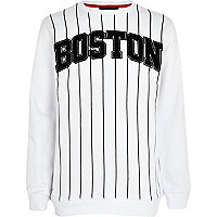 Boys white Brooklyn baseball sweatshirt