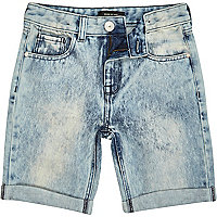 Boys mid wash denim shorts