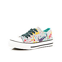 Boys grey paint splash canvas plimsolls