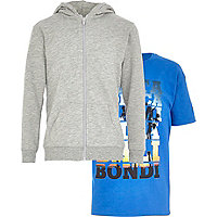 Boys grey hoody and blue print t-shirt set