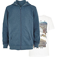 Boys blue hoody and print t-shirt set