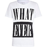 Boys white whatever print t-shrit