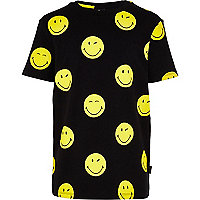 Boys black smiley print t-shirt