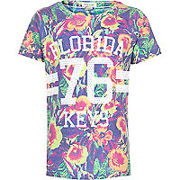 Boys pink floral Florida 76 printed t-shirt