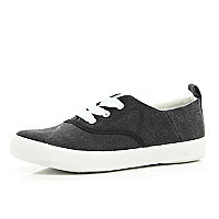 Boys grey smart canvas plimsolls trainer