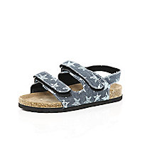 Boys blue double strap flatbed sandals