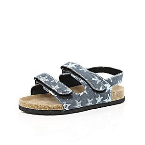 Boys blue double strap flatbed sandals