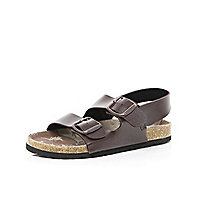 Boys brown double strap flatbed sandals