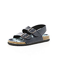 Boys navy double strap flatbed sandals
