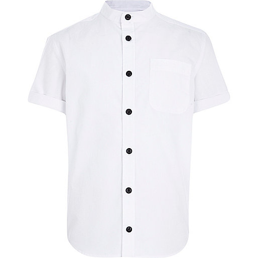 Boys white grandad collar shirt
