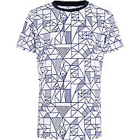 Boys white geo triangle print t-shirt