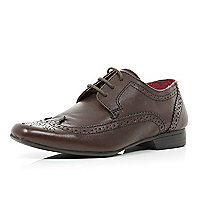 Boys brown smart brogue shoes
