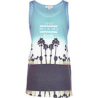 Boys blue Miami print vest t-shirt