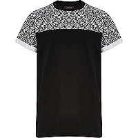 Boys black print colour block tee