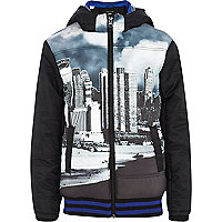 Boys black padded city print jacket