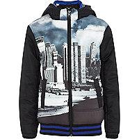 Boys black padded city print jacket