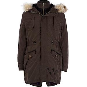 Boys dark grey parka coat