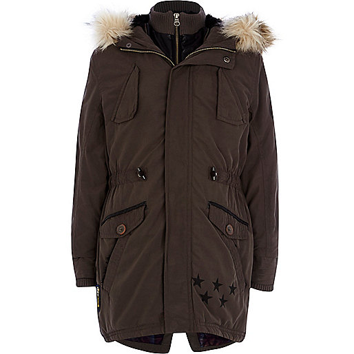 Boys dark grey parka coat