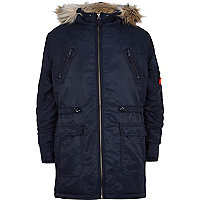 Boys navy nylon parka coat