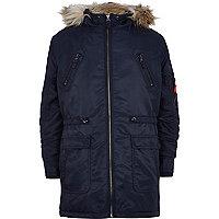 Boys navy nylon parka coat