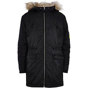 Boys black nylon parka coat