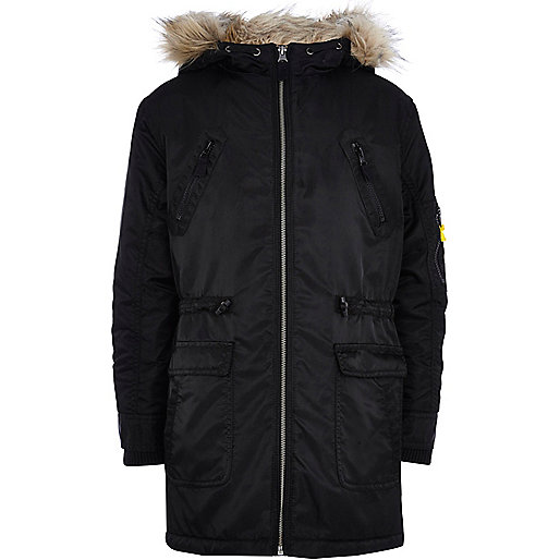 Boys black nylon parka coat