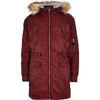 Boys red nylon parka coat