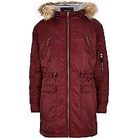 Boys red nylon parka coat