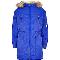 Boys blue nylon parka coat