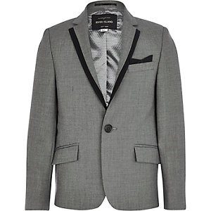 Boys grey silver suit blazer