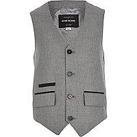 Boys grey silver suit waistcoat