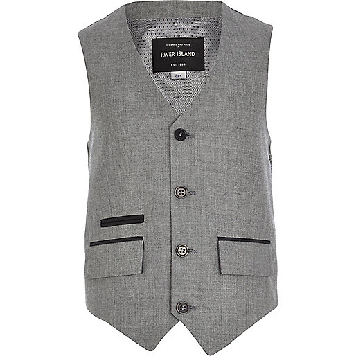 Boys grey silver suit vest