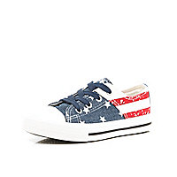 Boys blue stars and stripes canvas plimsolls