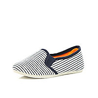 Boys white stripe slip on plimsolls