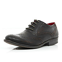 Boys dark brown smart brogue shoes